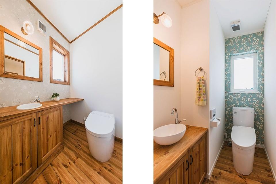 一階トイレ(左)と二階トイレ(右)。二階のシンクは水も汲めるような水栓を選びました