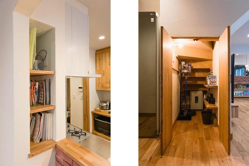 厚みのあるニッチは充電スペース兼お子さん関係の書類を置くスペースに。目立たせたくないWifi機器などは階段裏に収納しました